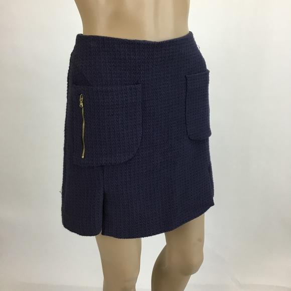 df3ad5b75 Zara Basic Navy Tweed Mini Skirt Gold Zippers Med.  M_5a74ce6f8df470b909882d57